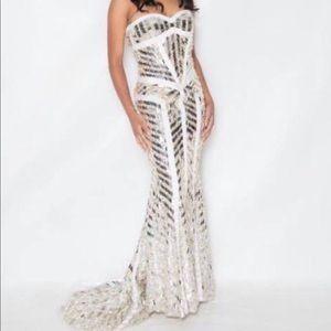 Sherri Hill Gold, White and silver dress 2813